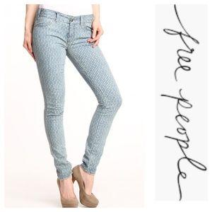 Free People diamond print skinny jeans
